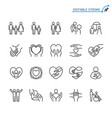 help and care line icons editable stroke vector image