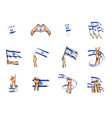 israel flag and hand on white background vector image