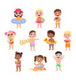 kids beach funny little children with summer vector image