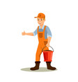 male farmer with bucket color cartoon character vector image vector image