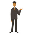 man in vintage suit and hat 1910s fashion vector image vector image