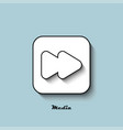 media player icon white with a shadow on a blue vector image vector image