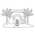 nativity scene cartoon vector image vector image