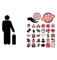 Passenger Flat Icon with Bonus vector image vector image