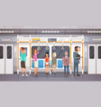 people passangers in subway car modern city public vector image vector image