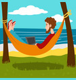 remote work at the resort cartoon vector image