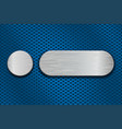 round and oval metal brushed plates on blue iron vector image vector image
