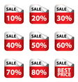Sale Banner with Many discount price sign isolated vector image vector image