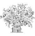 school building with doodles vector image vector image