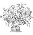 school building with doodles vector image