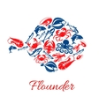 Seafood poster in shape of flounder fish symbol vector image vector image