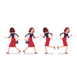 set of young secretary in running pose rear vector image vector image