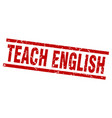 square grunge red teach english stamp vector image vector image