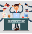 Stressed Man at Work Pulls His Hair vector image
