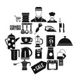 tableware icons set simple style vector image vector image
