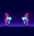 teenage girl using tablet app back view vector image vector image