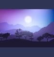 tree landscape at sunset vector image