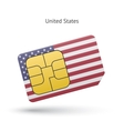 United States mobile phone sim card with flag vector image vector image