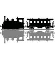 vintage steam locomotive and a passenger wagon vector image vector image