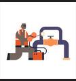 welder in protective mask welding big pipe steel vector image