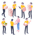 young guy postman brought parcel vector image