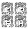 retro mermaid alphabet - e f g h vector image