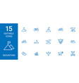 15 mountain icons vector image vector image