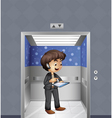 A boy holding an ipad inside the elevator vector image vector image