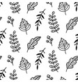 autumn leaves doodle sketch seamless pattern vector image vector image