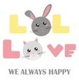 babys fashion with rabbit and a cat head vector image vector image