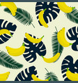 banana with tropical lief background seamless vector image