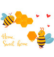 bright image with two funny bees building beehouse vector image