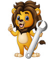 cartoon lion pointing with holding a wrench vector image