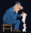 cartoon man in a suit and glasses pensively sits vector image vector image