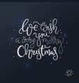 christmas lettering card hand drawn design black vector image