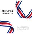 costa rica independence day ribbon banner vector image