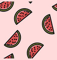 cute cartoon flat style watermelon seamless vector image vector image