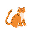 cute little tiger cub sitting with tail raised up vector image vector image