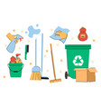cute set colorful essential cleaning supplies vector image
