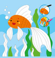 drawing game tutorial gold fish printable template vector image vector image