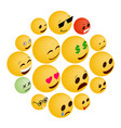 emoticon icons set isometric 3d style vector image