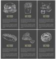 fast food monochrome sketch vector image vector image