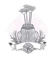 flowers in mason jar drawing design vector image vector image