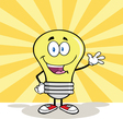 Friendly light bulb cartoon vector image vector image