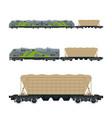 green locomotive with hopper car on platform vector image vector image