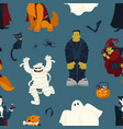halloween seamless pattern with funny scary magic vector image