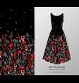 hand drawn floral pattern on dress mockup vector image vector image