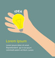 hand holding idea light bulb lamp yellow color vector image