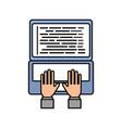 hand programmer typing laptop coding development vector image vector image