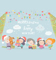 happy cartoon children with christmas gifts merry vector image